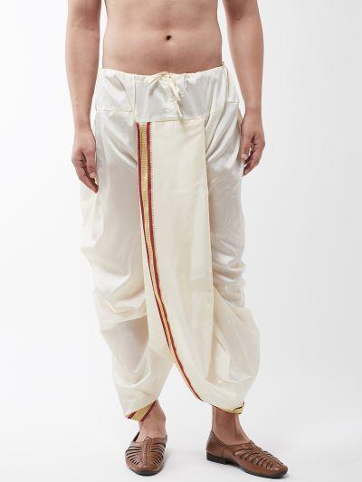 Sojanya (Since 1958) Men's Silk Blend Off White Stitched Dhoti