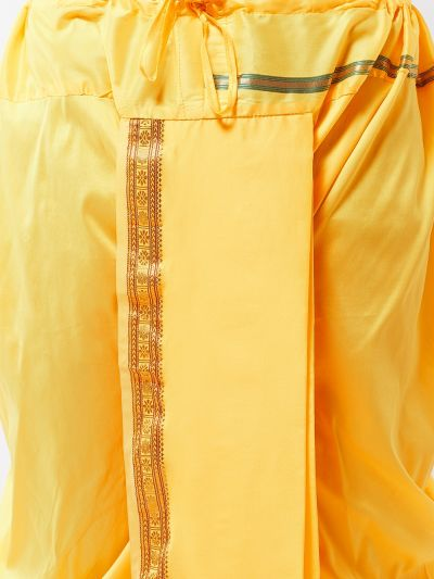 Sojanya (Since 1958) Men's Silk Blend Lemon Yellow Stitched Dhoti
