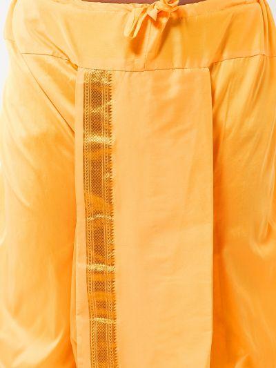 Sojanya (Since 1958) Men's Silk Blend Dark Yellow Stitched Dhoti
