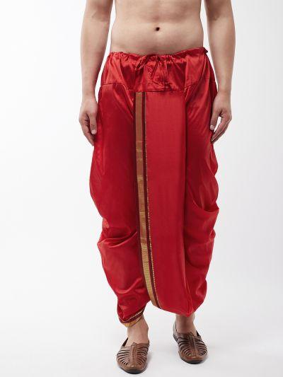 Sojanya (Since 1958) Men's Silk Blend Maroon Stitched Dhoti