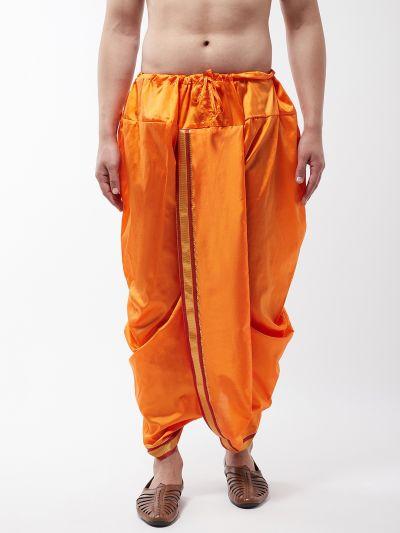Sojanya (Since 1958) Men's Silk Blend Orange Stitched Dhoti