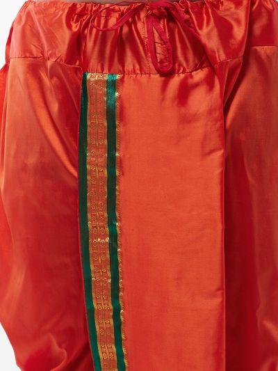 Sojanya (Since 1958) Men's Silk Blend Dark Orange Stitched Dhoti