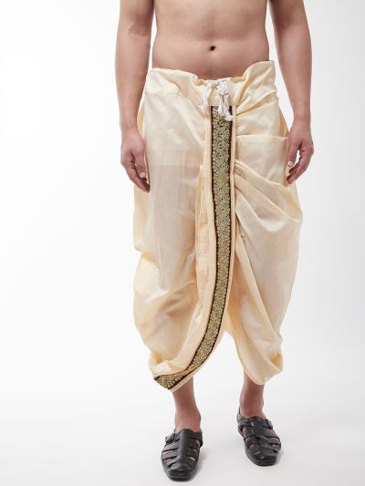 Sojanya (Since 1958) Men's Silk Blend Beige Embroidery Stitched Dhoti