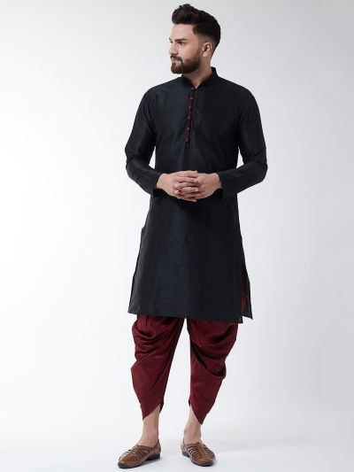 Sojanya (Since 1958), Men's Silk Blend Black Kurta & Maroon Harem Pant Set