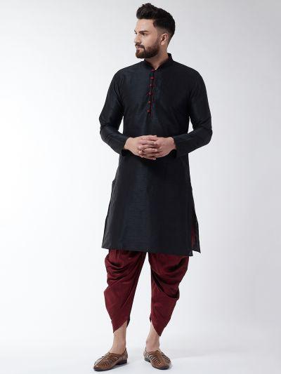 Sojanya (Since 1958), Men's Silk Blend Black Kurta & Maroon Harem Pant Set