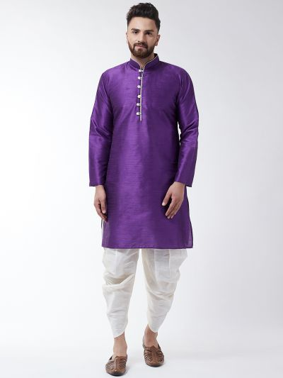 Sojanya (Since 1958), Men's Silk Blend Purple Kurta & Off White Harem Pant Set