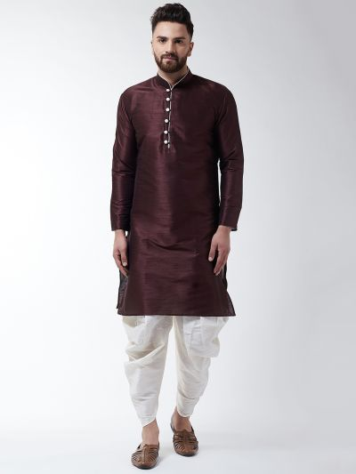 Sojanya (Since 1958), Men's Silk Blend Brown Kurta & Off White Harem Pant Set