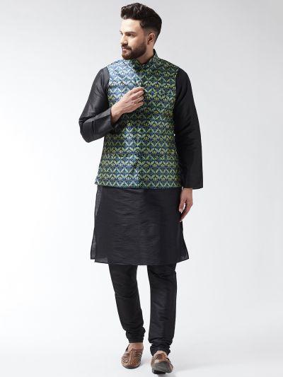 Sojanya (Since 1958), Mens Silk Blend Black Kurta With Pyjama & Blue Printed Nehrujacket Combo