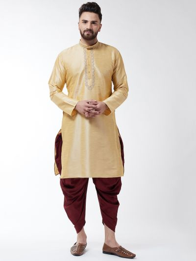 Sojanya (Since 1958), Men's Silk Blend Gold Kurta & Maroon Harem Pant Set