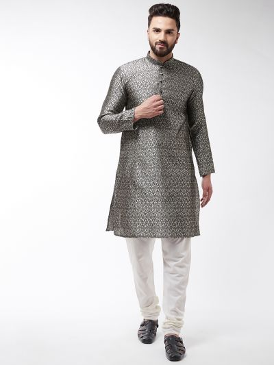 Sojanya (Since 1958), Men's Silk Blend Copper Kurta & Off White Churidar Pyjama Set