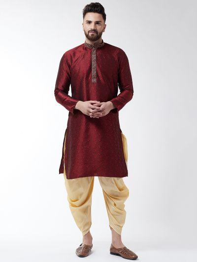Sojanya (Since 1958), Men's Silk Blend Maroon Kurta & Gold Harem Pant Set