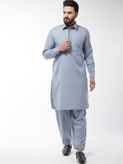 Sojanya (Since 1958), Men's Cotton Blend Grey Pathani Kurta With Salwar Set