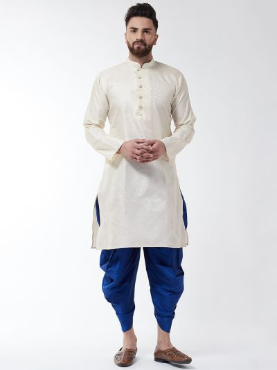 Sojanya (Since 1958), Men's Silk Blend Cream Kurta & Blue Harem Pant Set