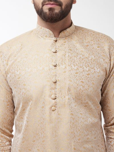 Sojanya (Since 1958), Men's Silk Blend Gold Kurta & Off White Churidar Pyjama Set