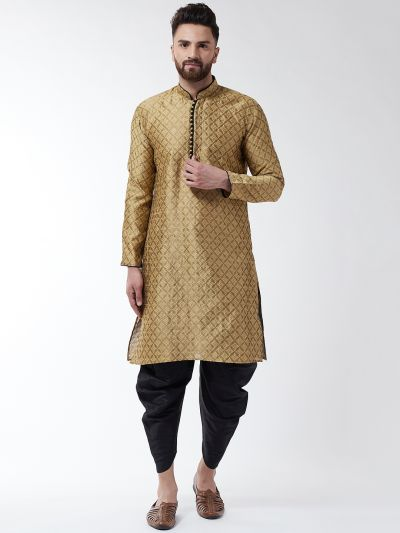 Sojanya (Since 1958), Men's Silk Blend Gold Kurta & Black Harem Pant Set