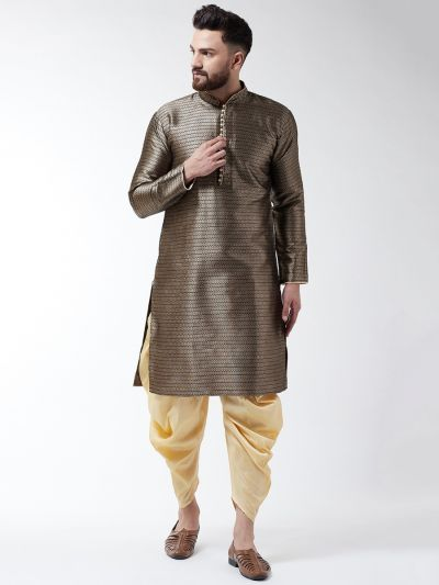Sojanya (Since 1958), Men's Silk Blend Bronze Kurta & Gold Harem Pant Set