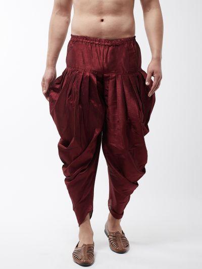 Sojanya (Since 1958), Men's Silk Blend Maroon Harem Pant