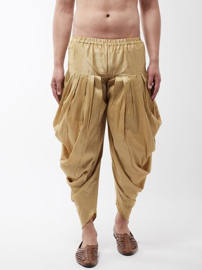 Sojanya (Since 1958), Men's Silk Blend Gold Harem Pant