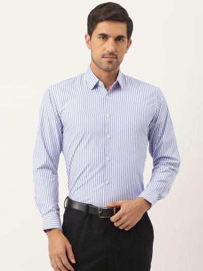 Sojanya (Since 1958), Men's Cotton Blue & White Striped Formal Shirt