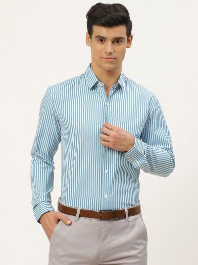 Sojanya (Since 1958), Men's Cotton Teal Blue & White Striped Formal Shirt