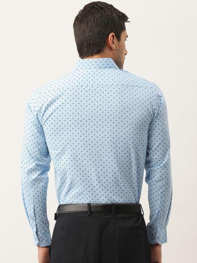 Sojanya (Since 1958), Mens Cotton Sky Blue & Black Printed Formal Shirt