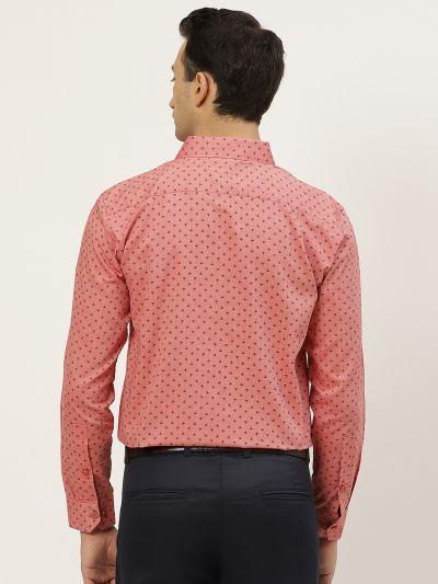 Sojanya (Since 1958), Mens Cotton Coral Red & Black Printed Formal Shirt