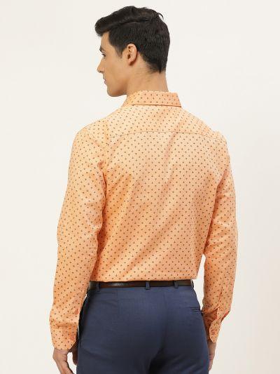 Sojanya (Since 1958), Mens Cotton Peach & Black Printed Formal Shirt