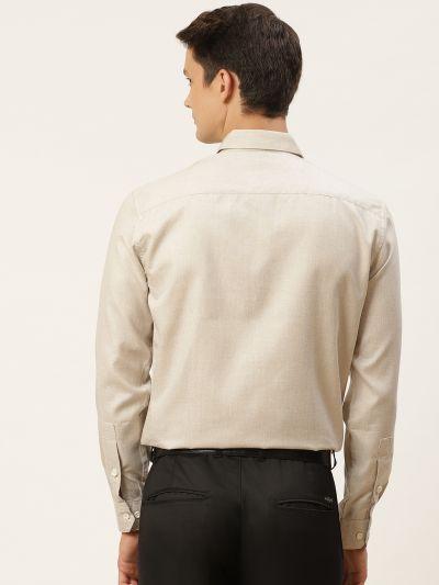 Sojanya (Since 1958), Men's Cotton Linen Light Grey Formal Shirt