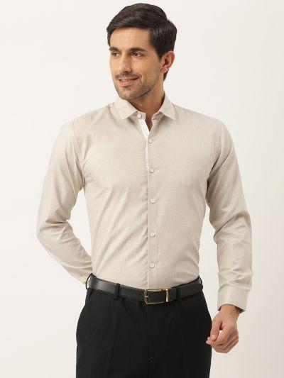 Sojanya (Since 1958), Men's Cotton Linen Light Brown Formal Shirt