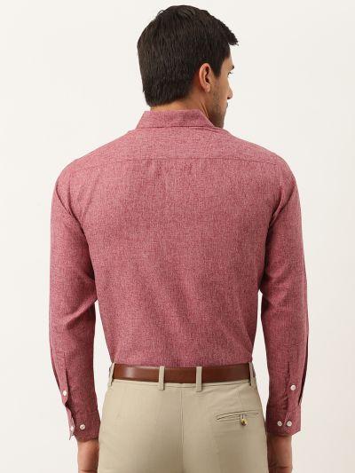Sojanya (Since 1958), Men's Cotton Linen Maroon Formal Shirt