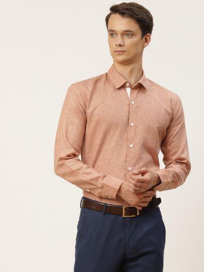 Sojanya (Since 1958), Men's Cotton Linen Rust Formal Shirt