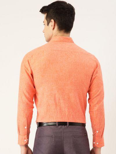 Sojanya (Since 1958), Men's Cotton Linen Orange Formal Shirt