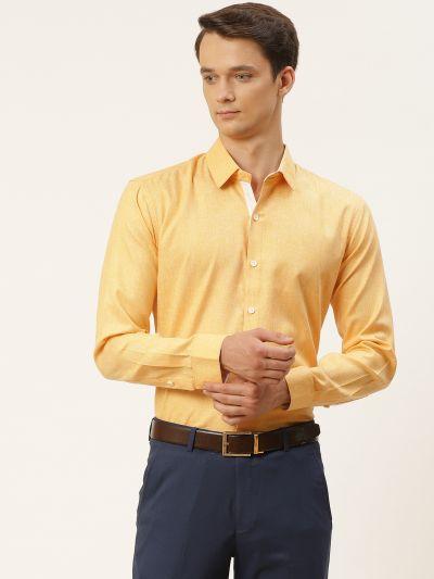 Sojanya (Since 1958), Men's Cotton Linen Dark Yellow Formal Shirt