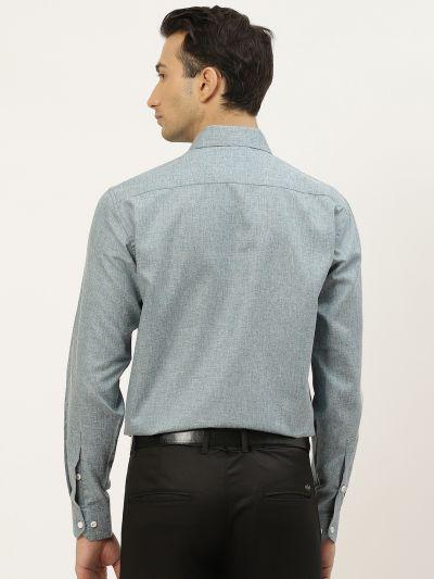 Sojanya (Since 1958), Men's Cotton Linen Teal Green Formal Shirt
