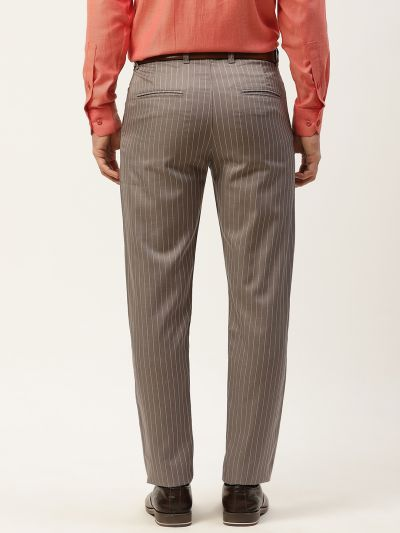 Sojanya (Since 1958) Men's Cotton Blend Grey & OffWhite Striped Formal Trousers