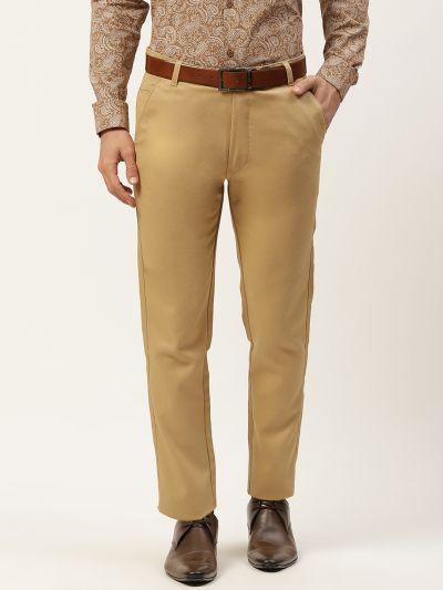 Sojanya (Since 1958) Men's Cotton Blend Khaki Woven Design Formal Trousers