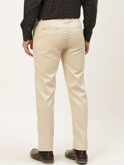 Sojanya (Since 1958) Men's Cotton Blend Beige Woven Design Formal Trousers