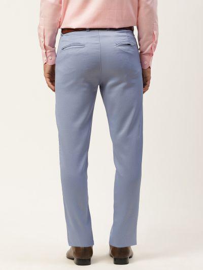 Sojanya (Since 1958) Men's Cotton Blend Blue Woven Design Formal Trousers