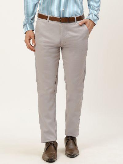 Sojanya (Since 1958) Men's Cotton Blend Grey Woven Design Formal Trousers