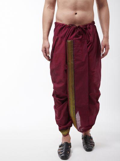 Sojanya (Since 1958) Men's Pure Cotton Maroon Stitched Dhoti