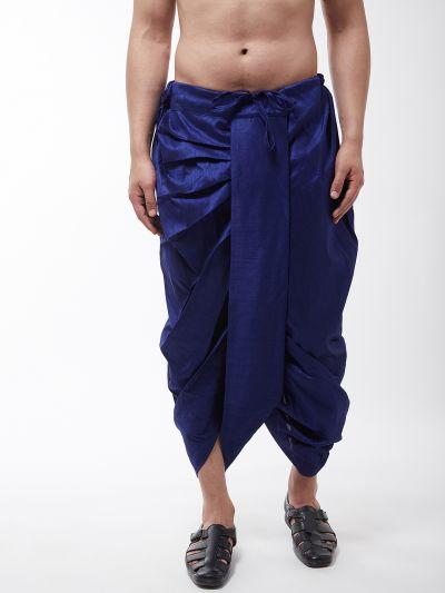 Sojanya (Since 1958) Men's Silk Blend Royal Blue Stitched Dhoti