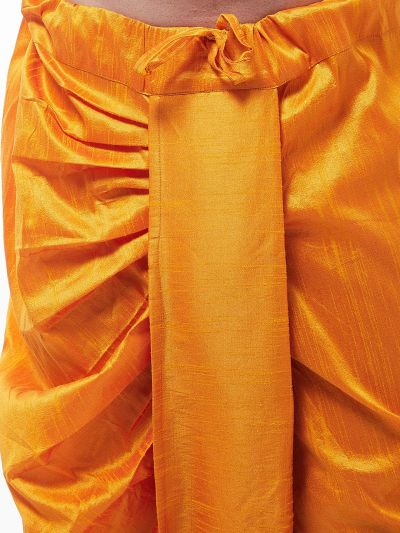 Sojanya (Since 1958) Men's Silk Blend Mustard Stitched Dhoti