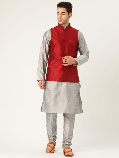 Sojanya (Since 1958), Mens Silk Blend Grey Kurta Pyjama & Red Nehrujacket Combo