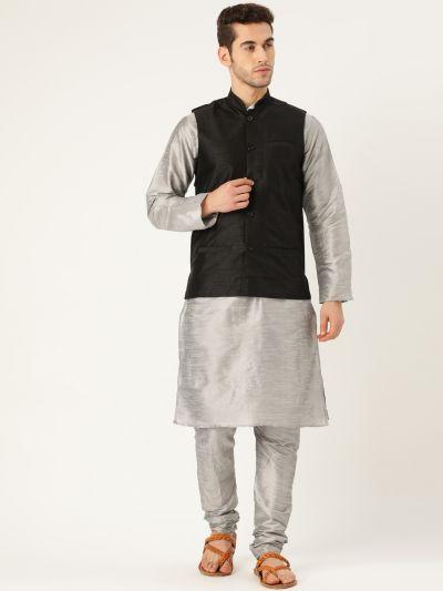 Sojanya (Since 1958), Mens Silk Blend Grey Kurta Pyjama & Black Nehrujacket Combo