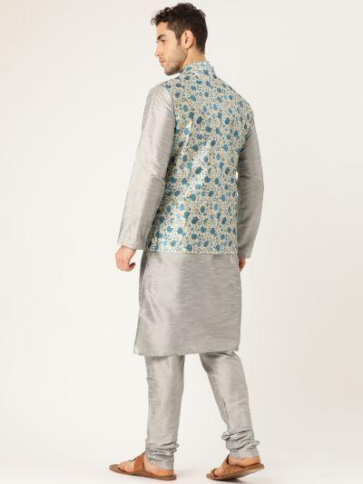 Sojanya (Since 1958), Mens Silk Blend Grey Kurta Pyjama & Blue Nehrujacket Combo