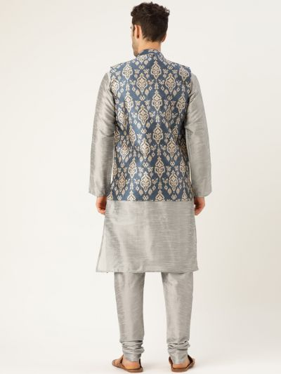 Sojanya (Since 1958), Mens Silk Blend Grey Kurta Pyjama & Grey Nehrujacket Combo