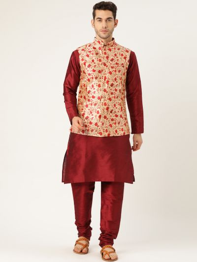Sojanya (Since 1958), Mens Silk Blend Maroon Kurta Pyjama & Red Nehrujacket Combo