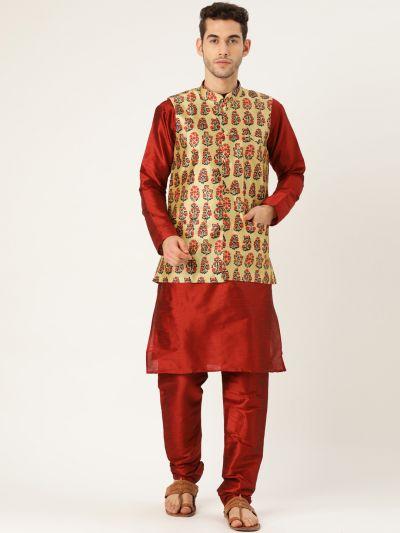 Sojanya (Since 1958), Mens Silk Blend Maroon Kurta Pyjama & Beige Nehrujacket Combo