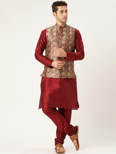 Sojanya (Since 1958), Mens Silk Blend Maroon Kurta Pyjama & Maroon Nehrujacket Combo