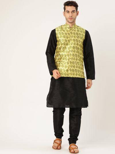 Sojanya (Since 1958), Mens Silk Blend Black Kurta Pyjama & LimeGreen Nehrujacket Combo